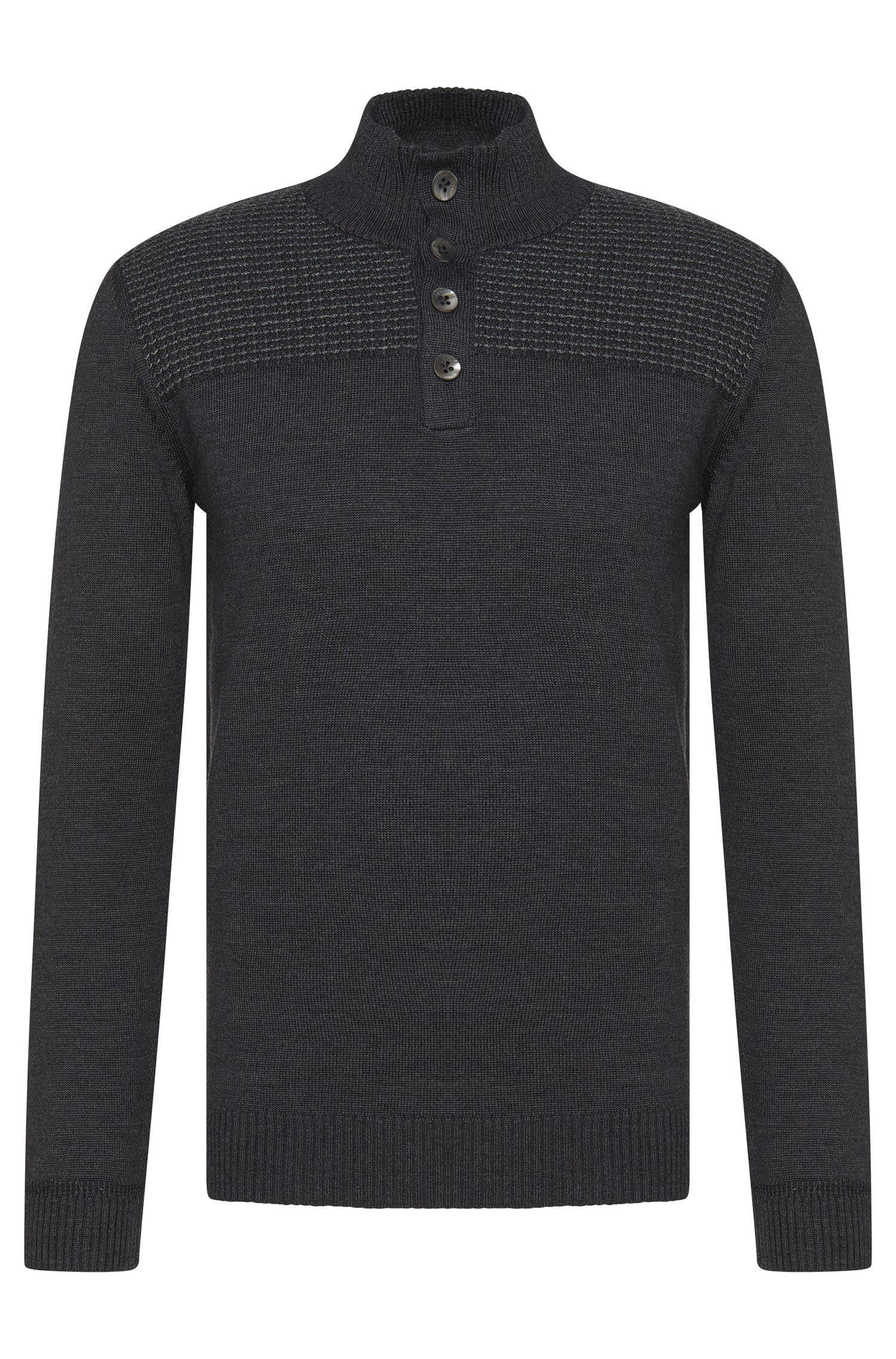 Maglione regular fit in lana vergine con allacciatura a bottoni corta: 'Balcos'