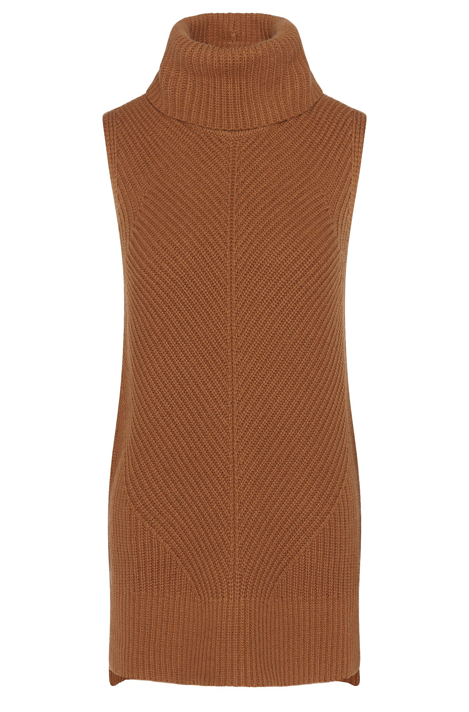 Polo-neck sleeveless sweater in a new-wool blend with yak wool and cashmere: 'Fala'