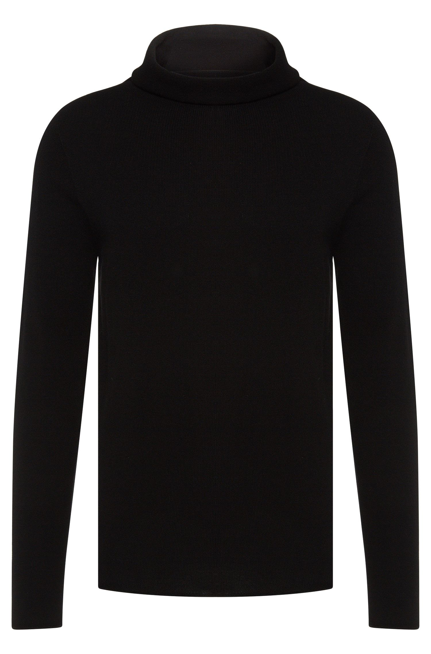 Loose-fit polo neck sweater in cashmere and new wool: 'Sullux'