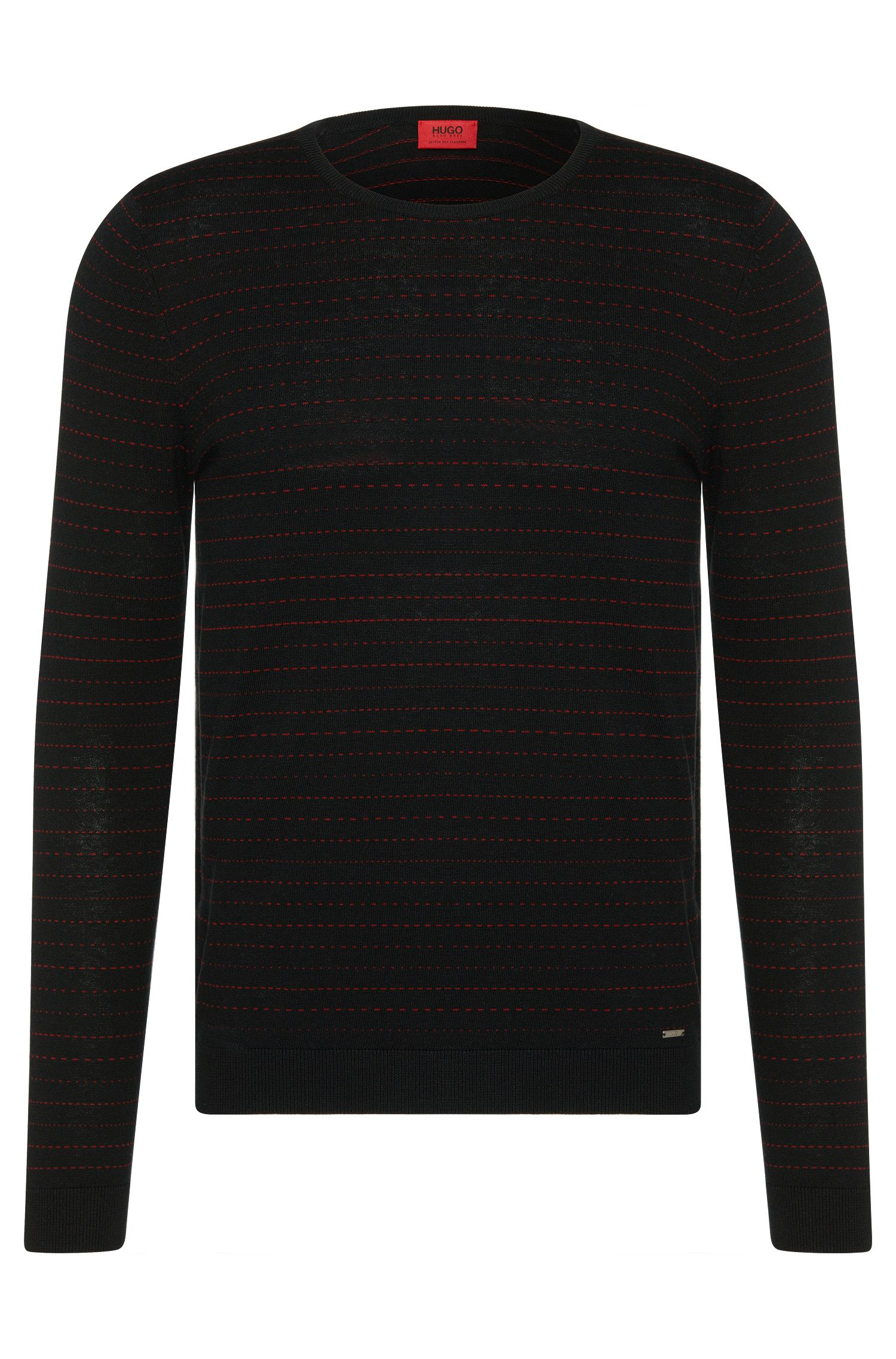 Striped slim-fit sweater in cotton blend with silk and cashmere: 'Samf'