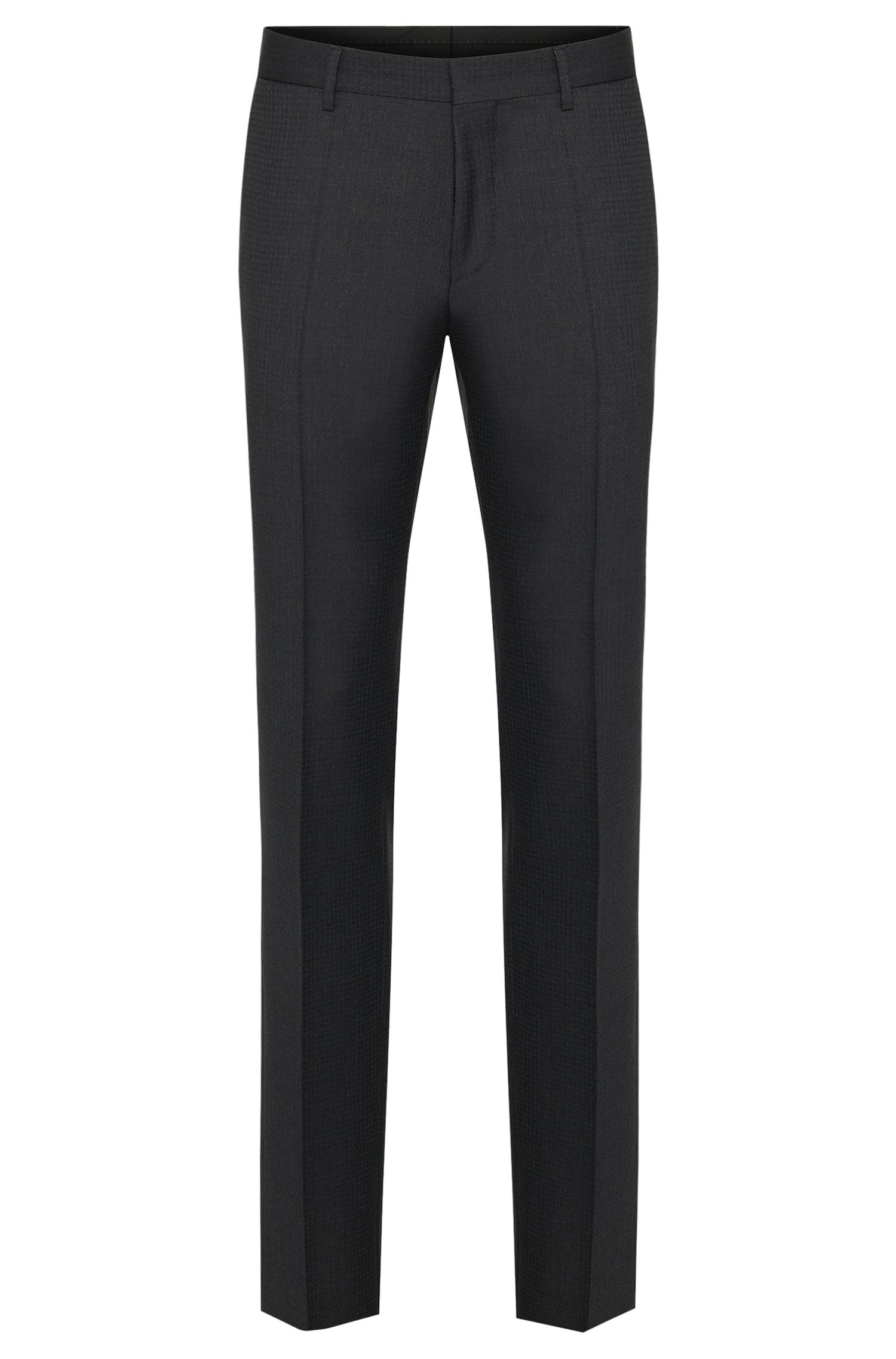 Pantalon Slim Fit Tailored en laine vierge à motif fin : « T-Gleeve1 »