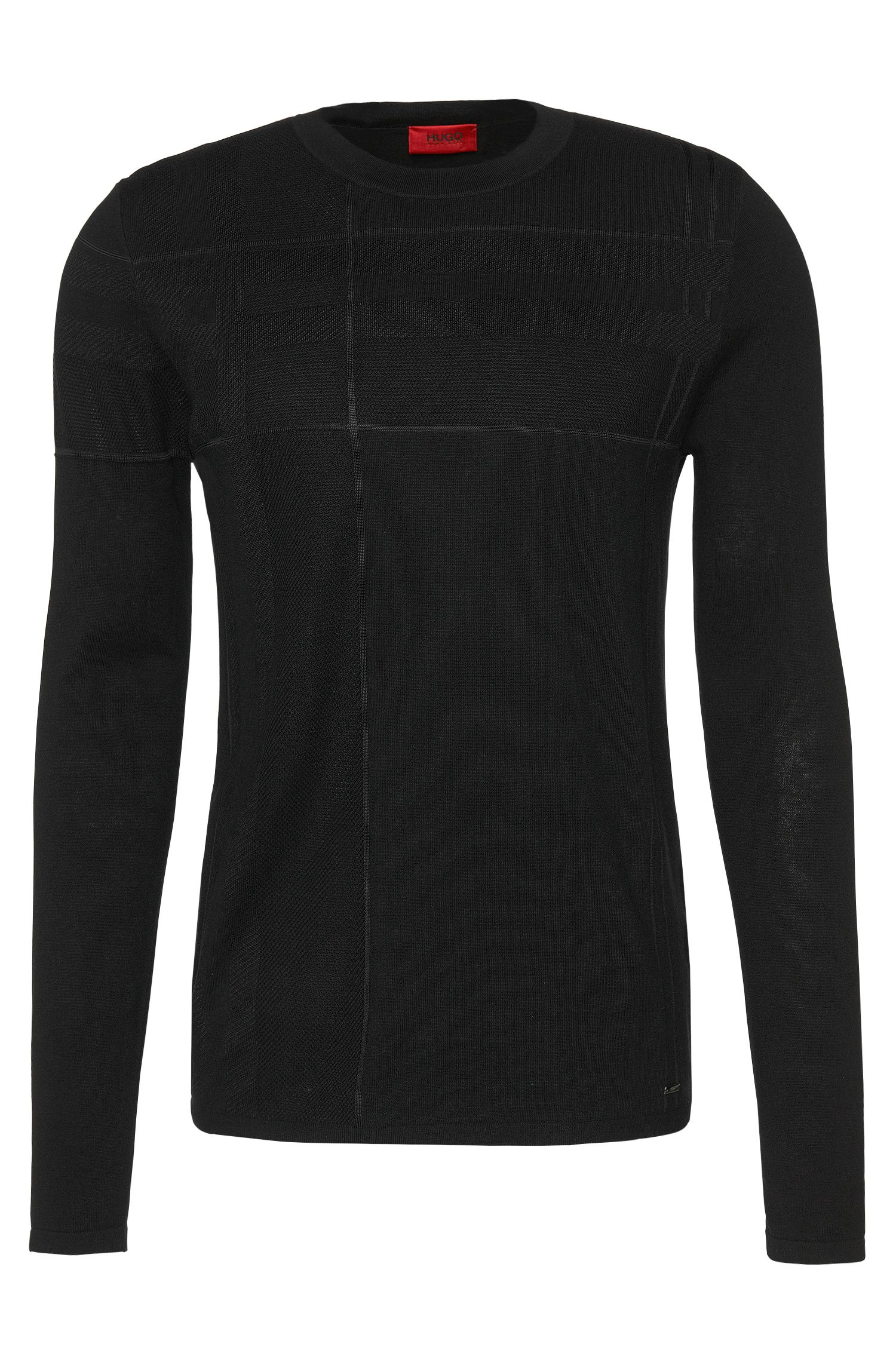 Patterned slim-fit sweater in new-wool blend with silk and cashmere: 'Seck'
