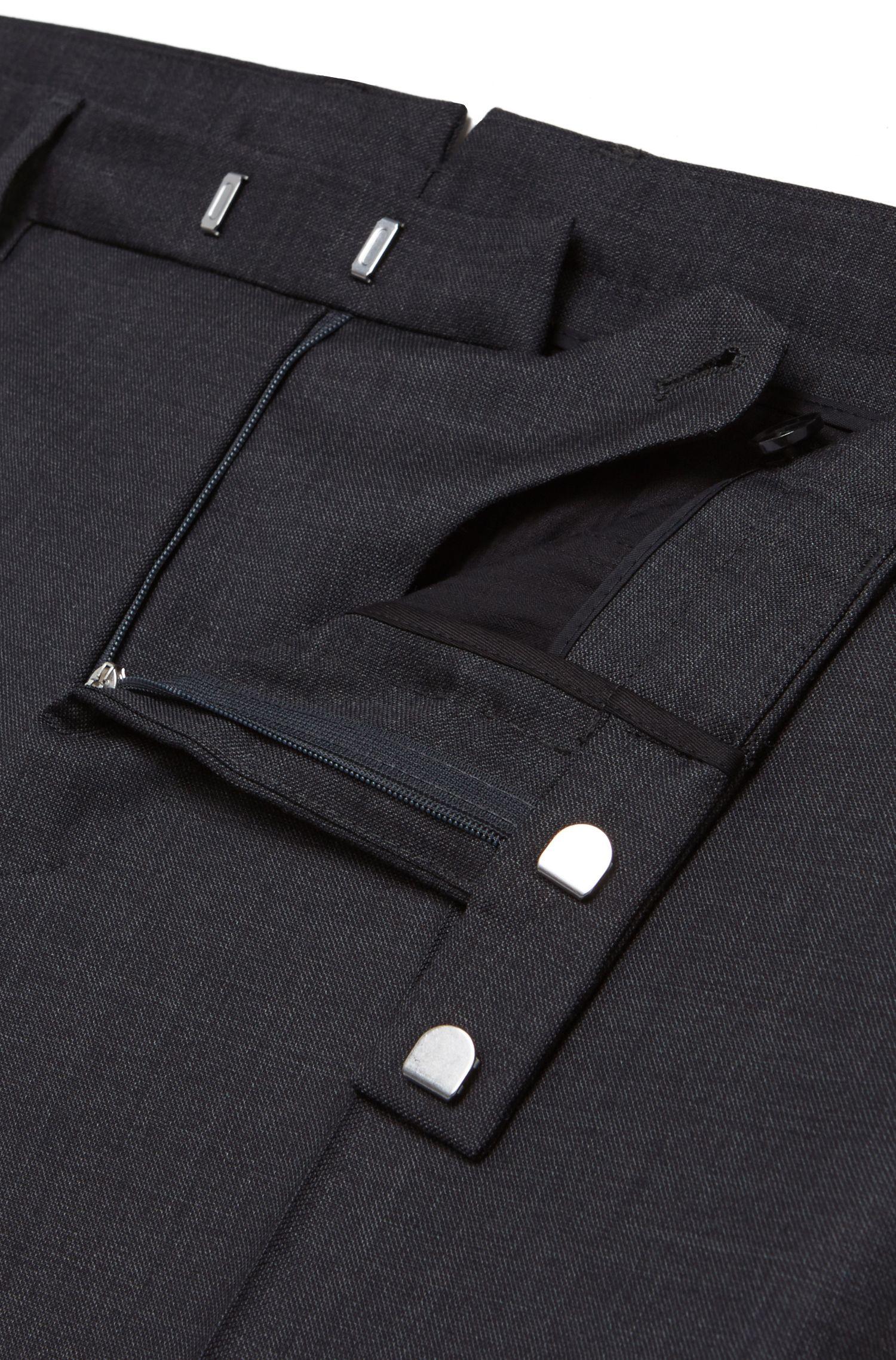 Pantalon Slim Fit Tailored finement structuré, confectionné en laine vierge: «T-Bale»