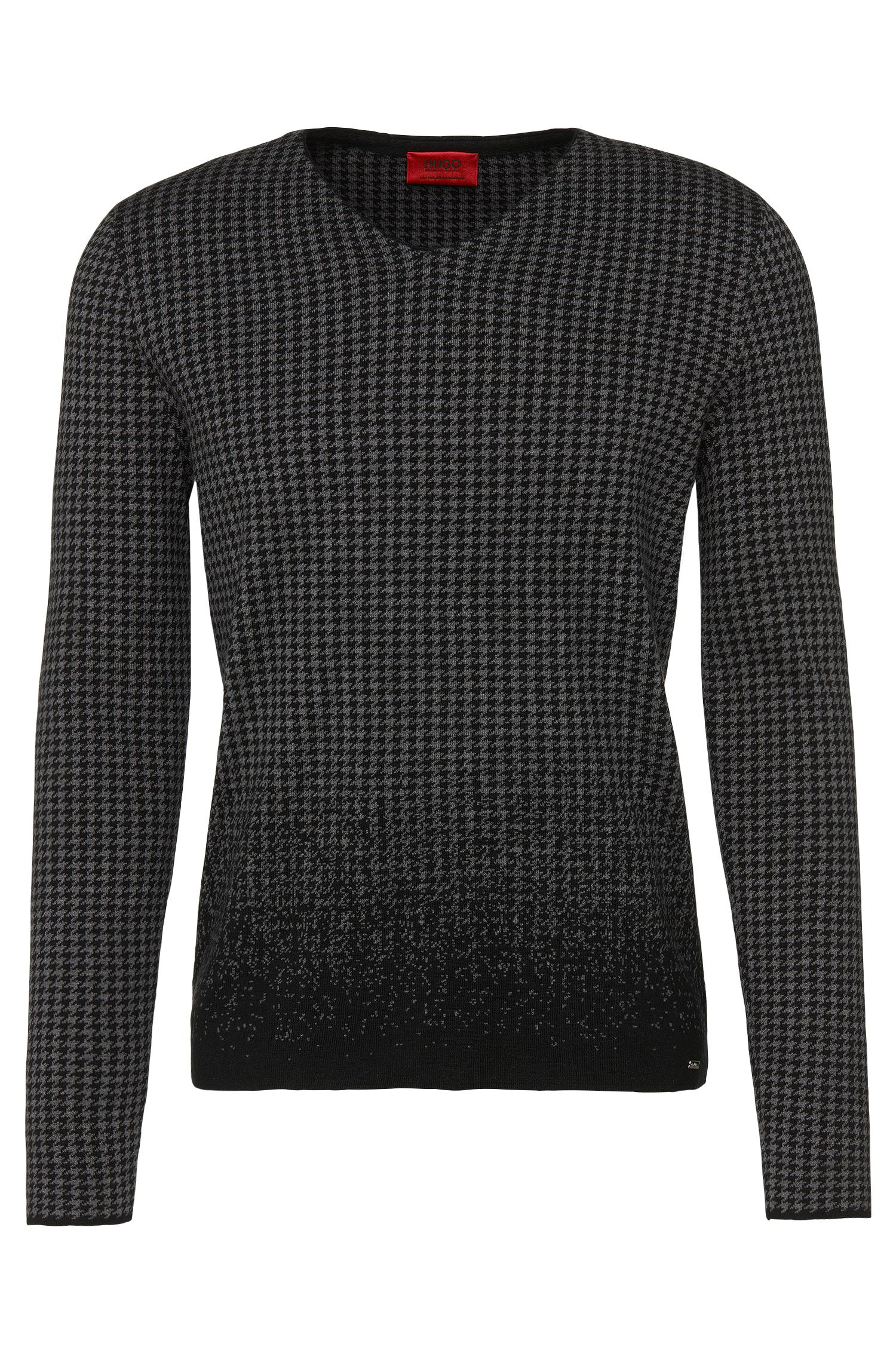 Patterned loosely fitting sweater in cotton blend with silk and cashmere: 'Slen'