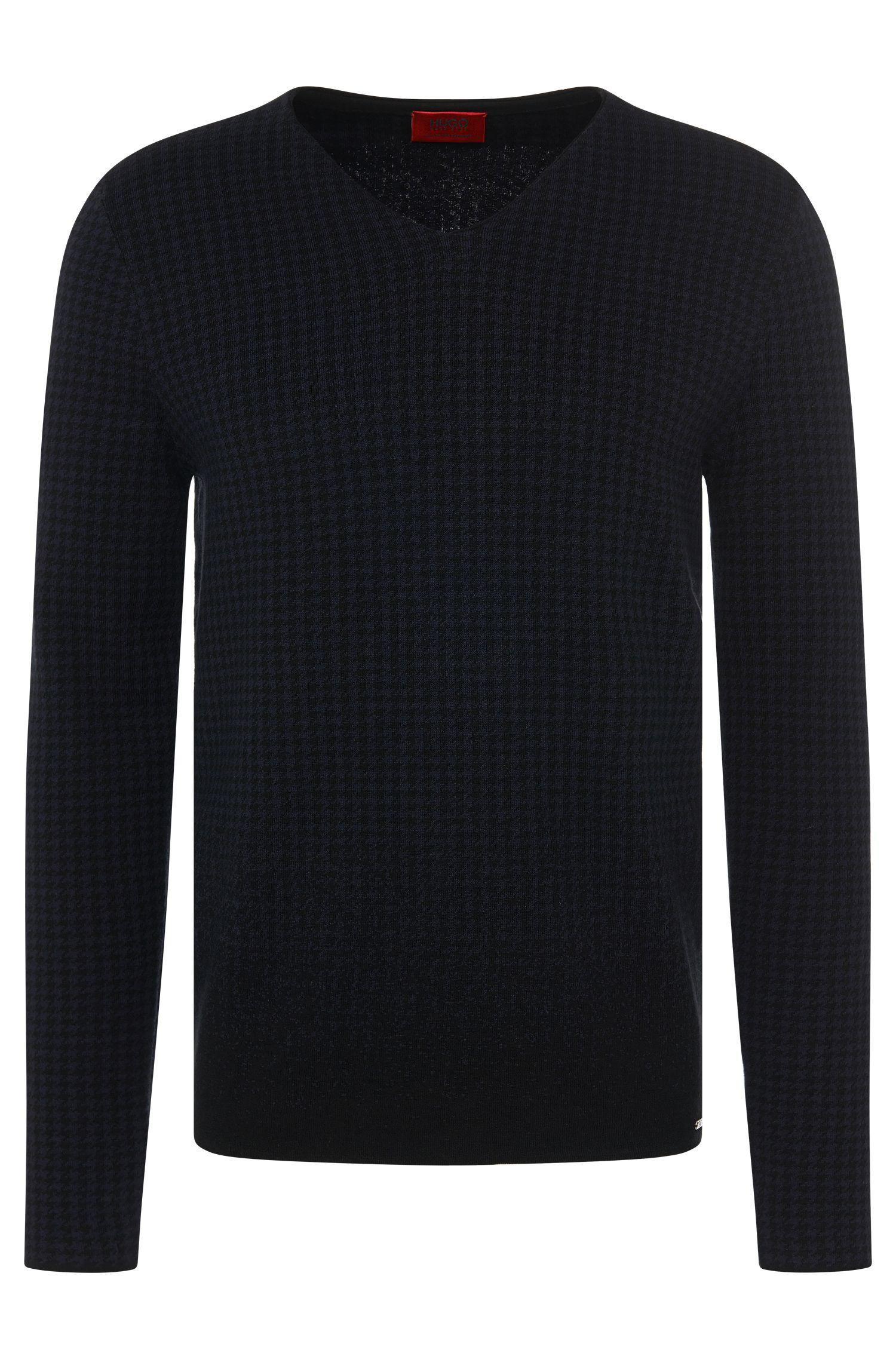 Loose-fit trui van een katoenmix met zijde en kasjmier met dessin: 'Slen'