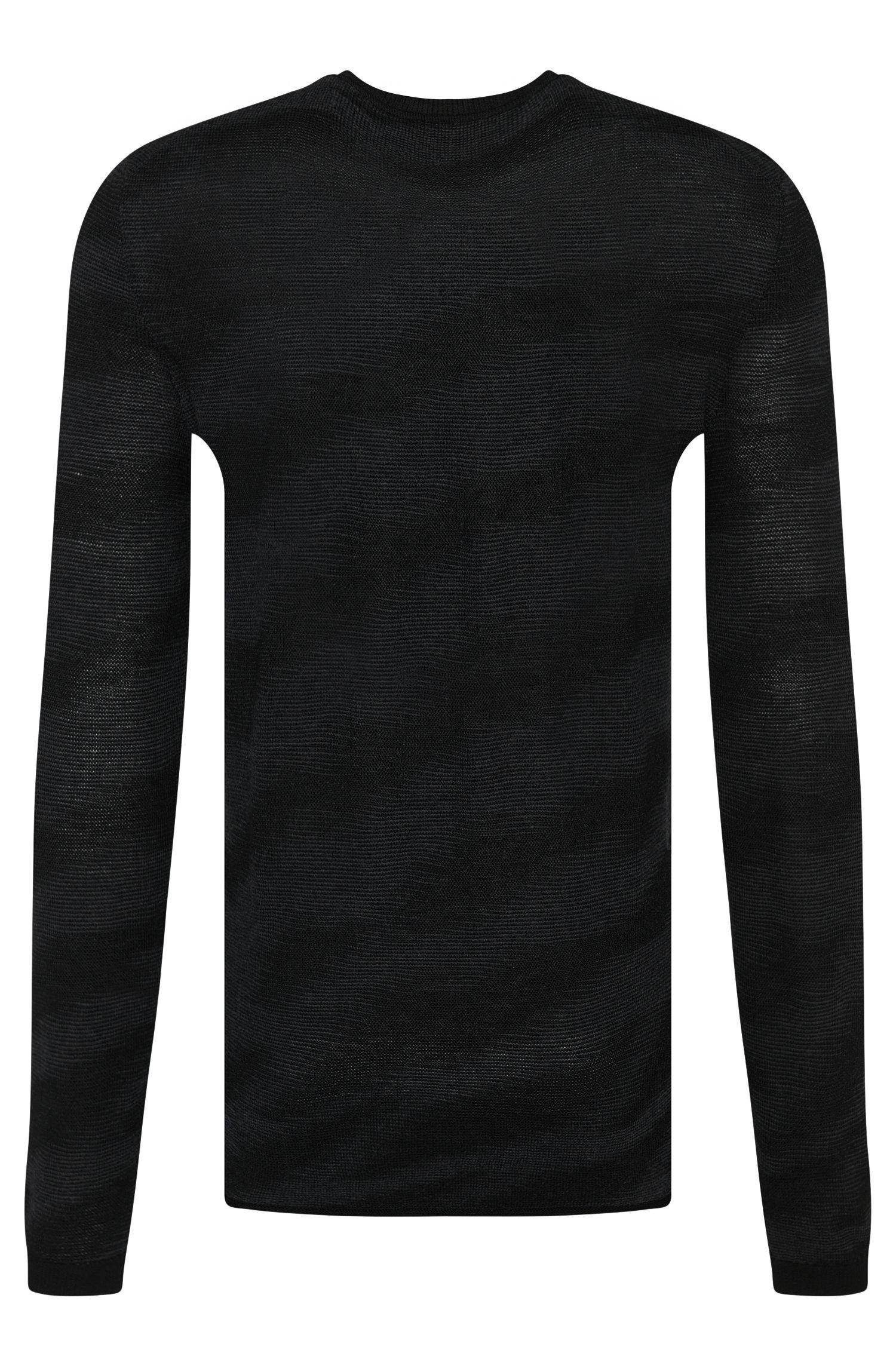 Loose-Fit Pullover aus Schurwolle mit diagonalem Allover-Muster: 'Savo'