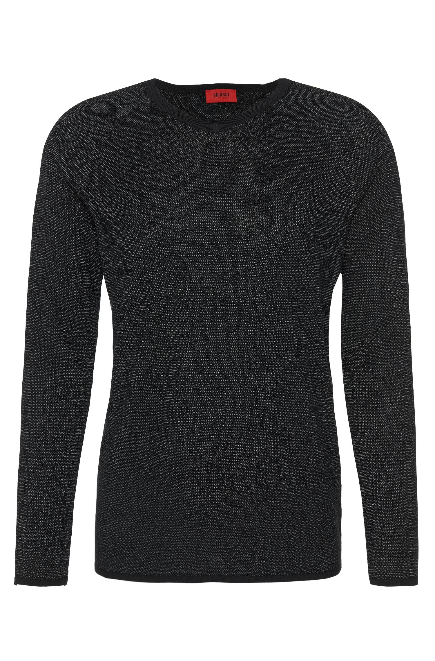 2-tone loosely fitting sweater in cotton blend with wool: 'Slack'