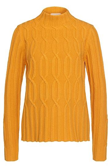 Pullover aus Schurwolle im Zopfstrick-Muster: 'Faolana', Orange