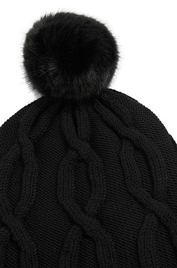Pudelmütze aus Schurwolle: 'Ziraya', Schwarz