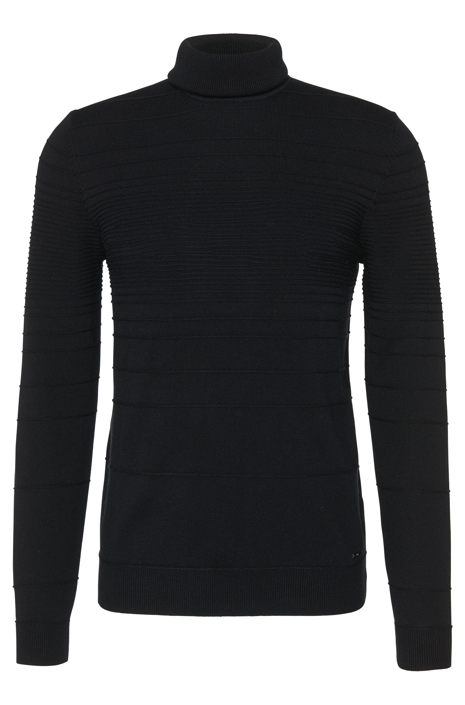 Slim-fit polo neck sweater in cotton and new wool with patterned knit: 'Siseal'