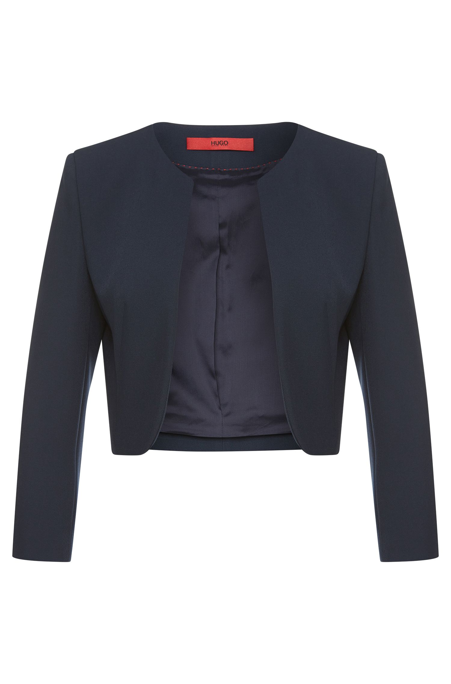 Straight-cut short blazer with open front: 'Aneva'