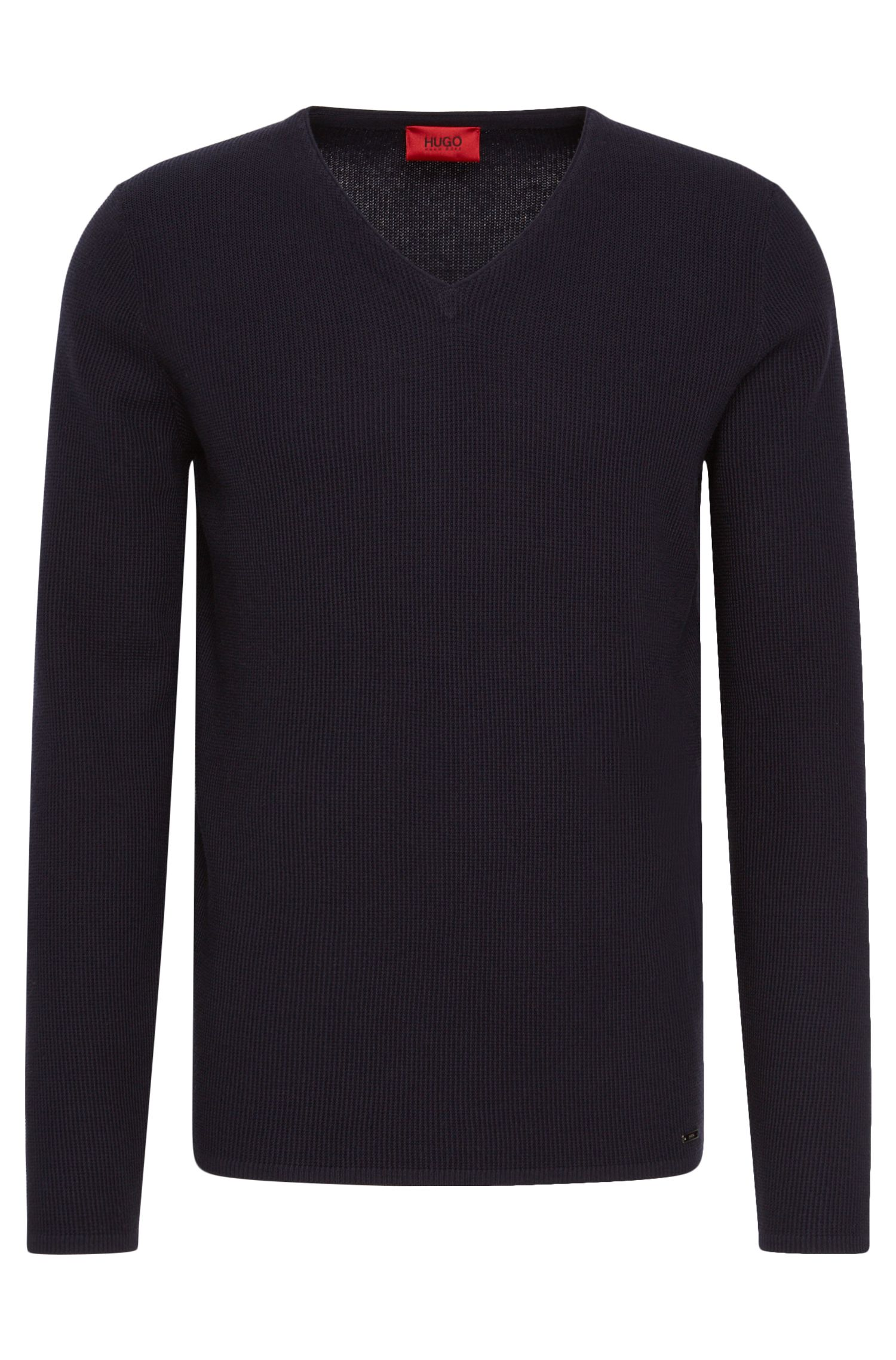 Unifarbener Loose-Fit Pullover aus Baumwolle und Schurwolle: 'Stue'