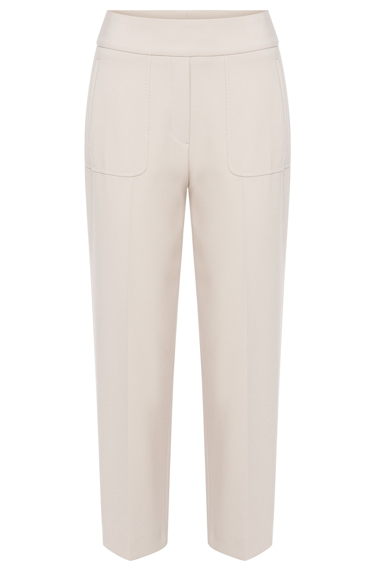 High-waisted trousers in fabric blend with pressed creases: 'Habibi'