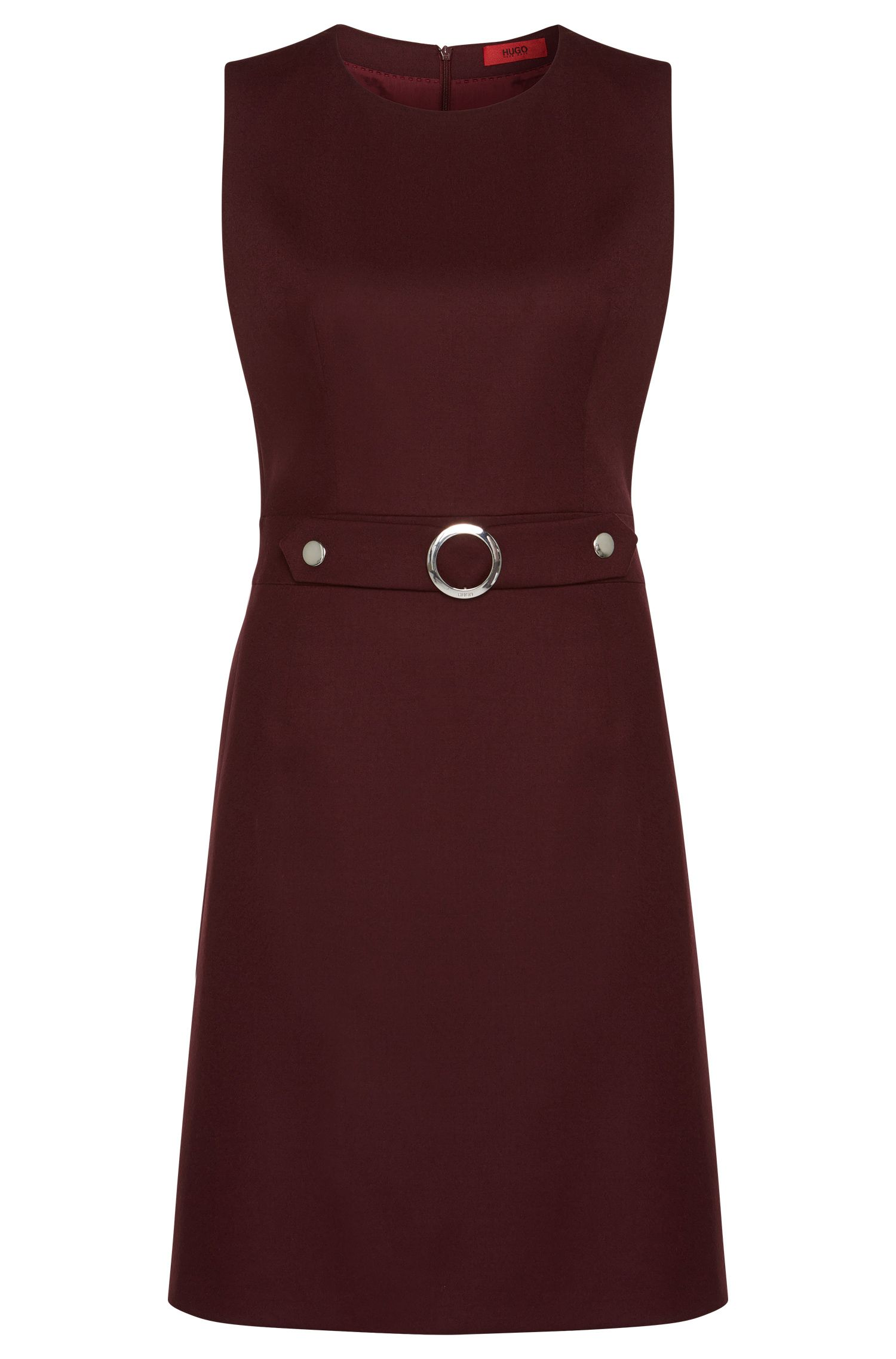 Sheath dress in stretch new wool with metal appliqué: 'Krishne'