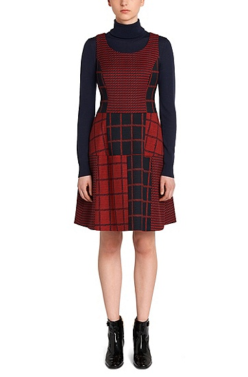 Sleeveless dress in pattern mix: 'Kine', Red