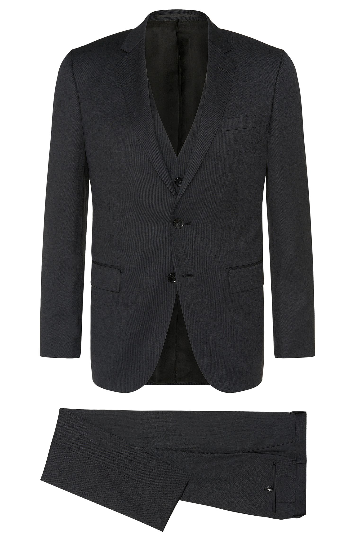 Gestreifter Slim-Fit Tailored Anzug mit Weste aus reiner Schurwolle: 'T-Harvers2Glover1WE2'