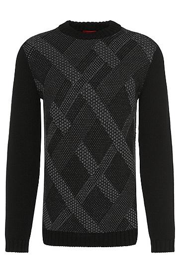 Pull Loose Fit en laine vierge orné d'un motif à carreaux: «Swindon», Noir