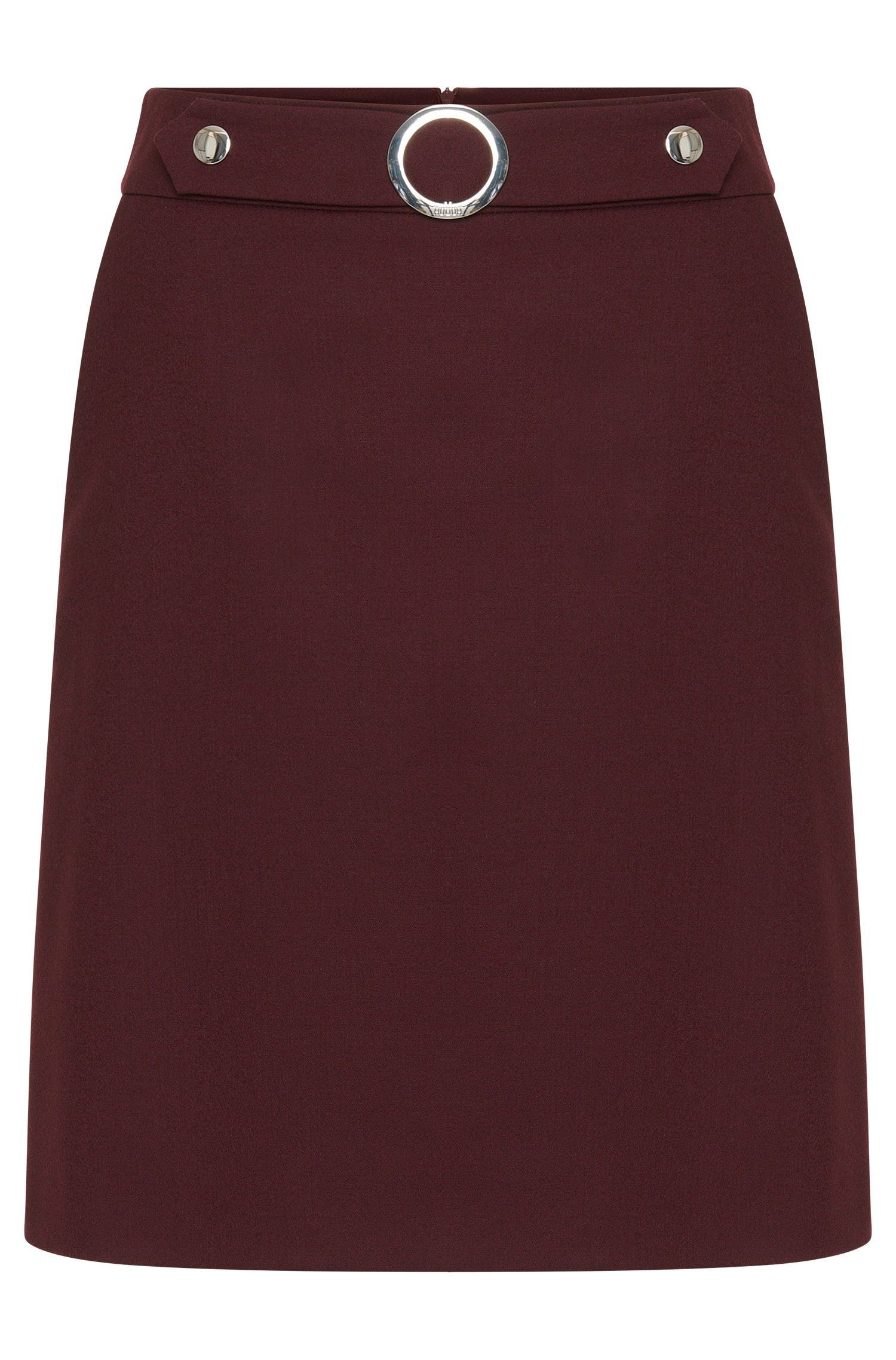Skirt in stretch new wool with belt element: 'Ranisi'
