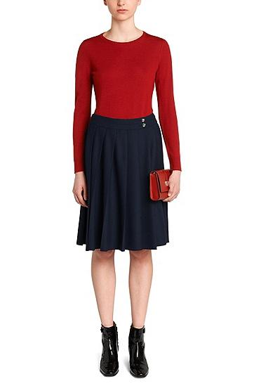 Jupe plissée taille haute: «Ryandy», Bleu foncé