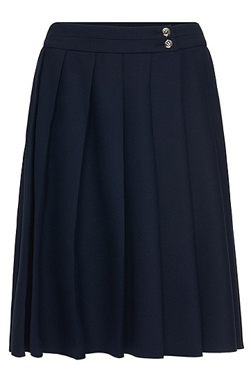 High-waisted pleated skirt: 'Ryandy', Dark Blue