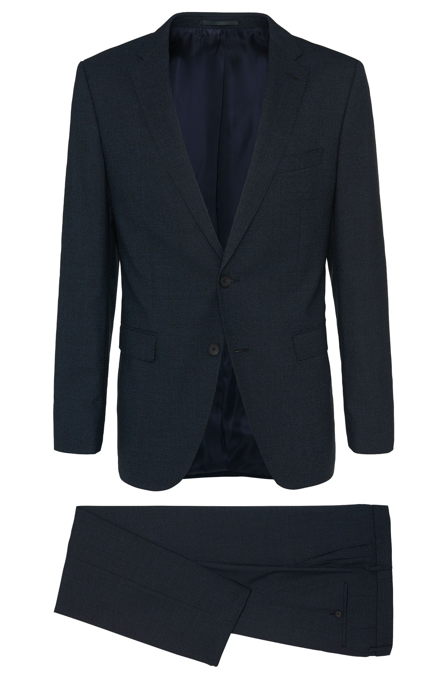 Slim-fit suit in new wool with mottled pattern: 'Novan3/Ben'