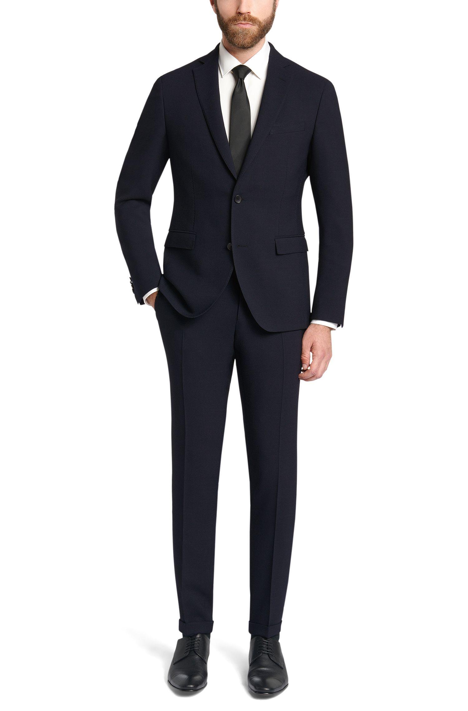 Fein strukturierter Extra Slim-Fit Anzug aus Stretch-Schurwolle: 'Reyno2/Wave1'