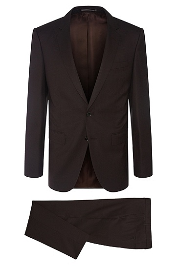 Karierter Slim-Fit Tailored Anzug aus Schurwoll-Mix mit Seide: 'T-Harvers2/Glover1', Dunkelbraun