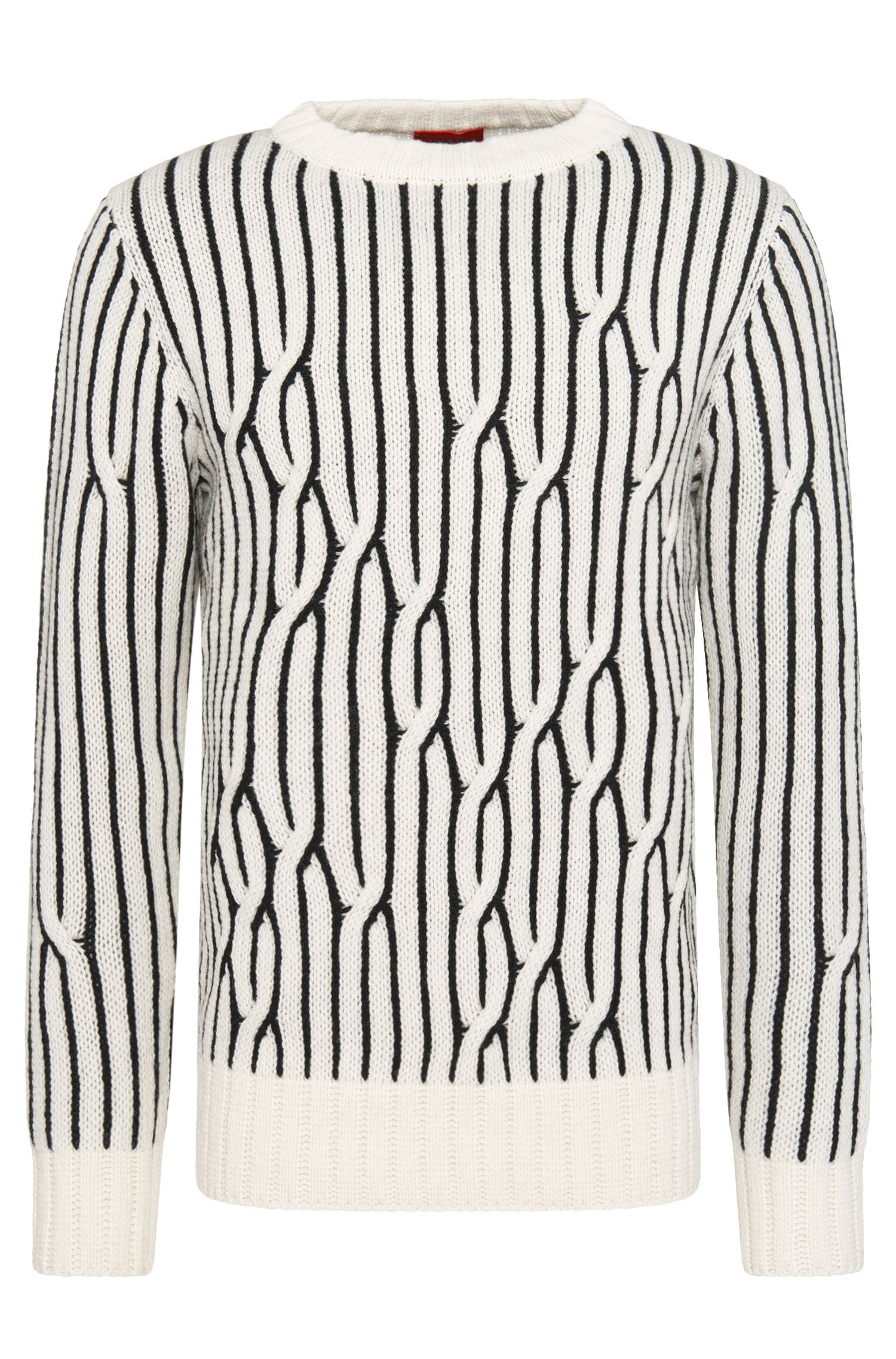 Striped relaxed-fit sweater in new wool: 'Sacramento'