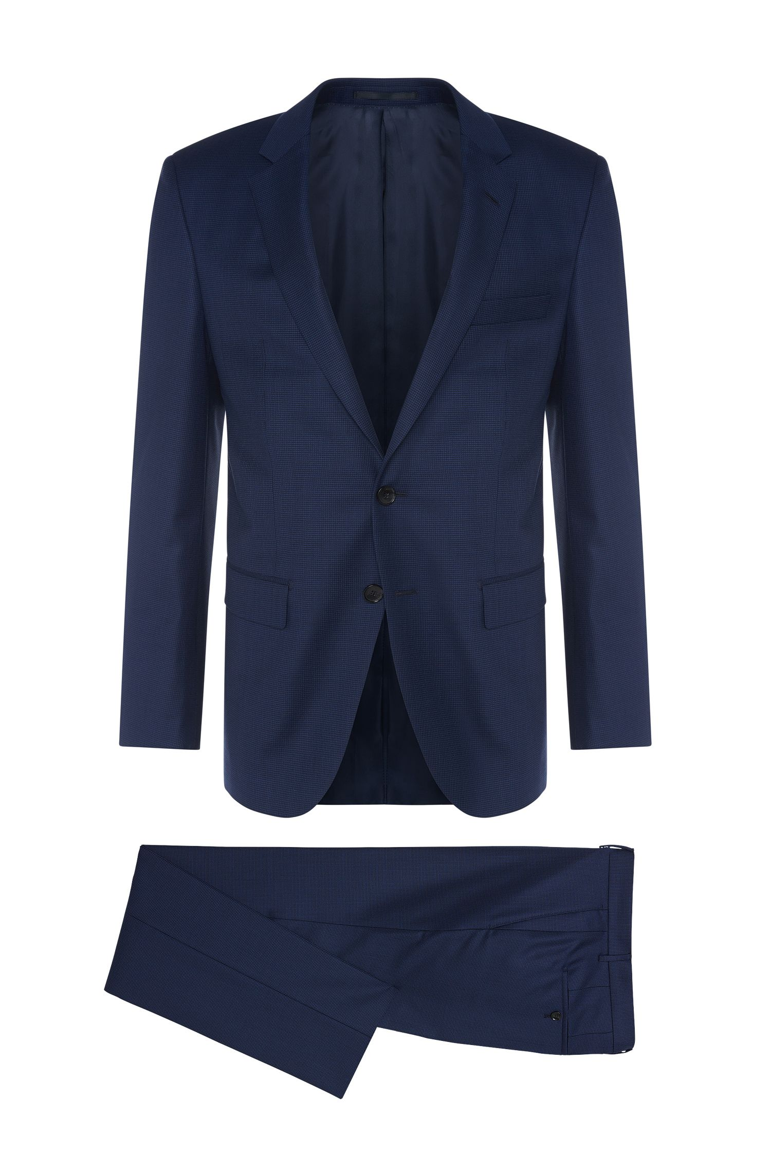 Costume Slim Fit Tailored en laine vierge, à motif raffiné : « T-Harvers2/Glover1 »