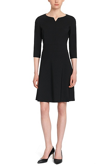 Plain dress in stretch new wool: 'Kebina', Black
