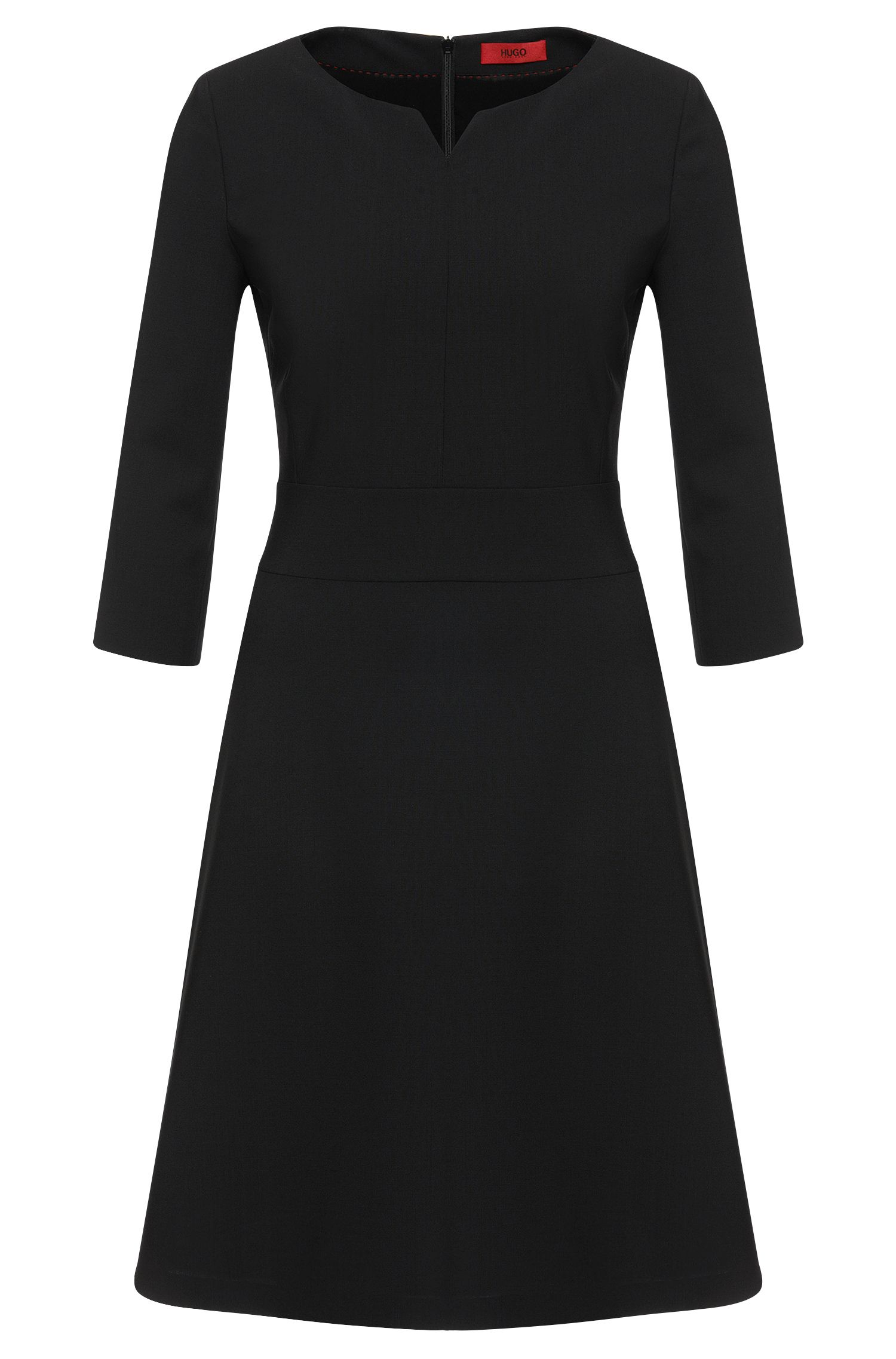 Plain dress in stretch new wool: 'Kebina'