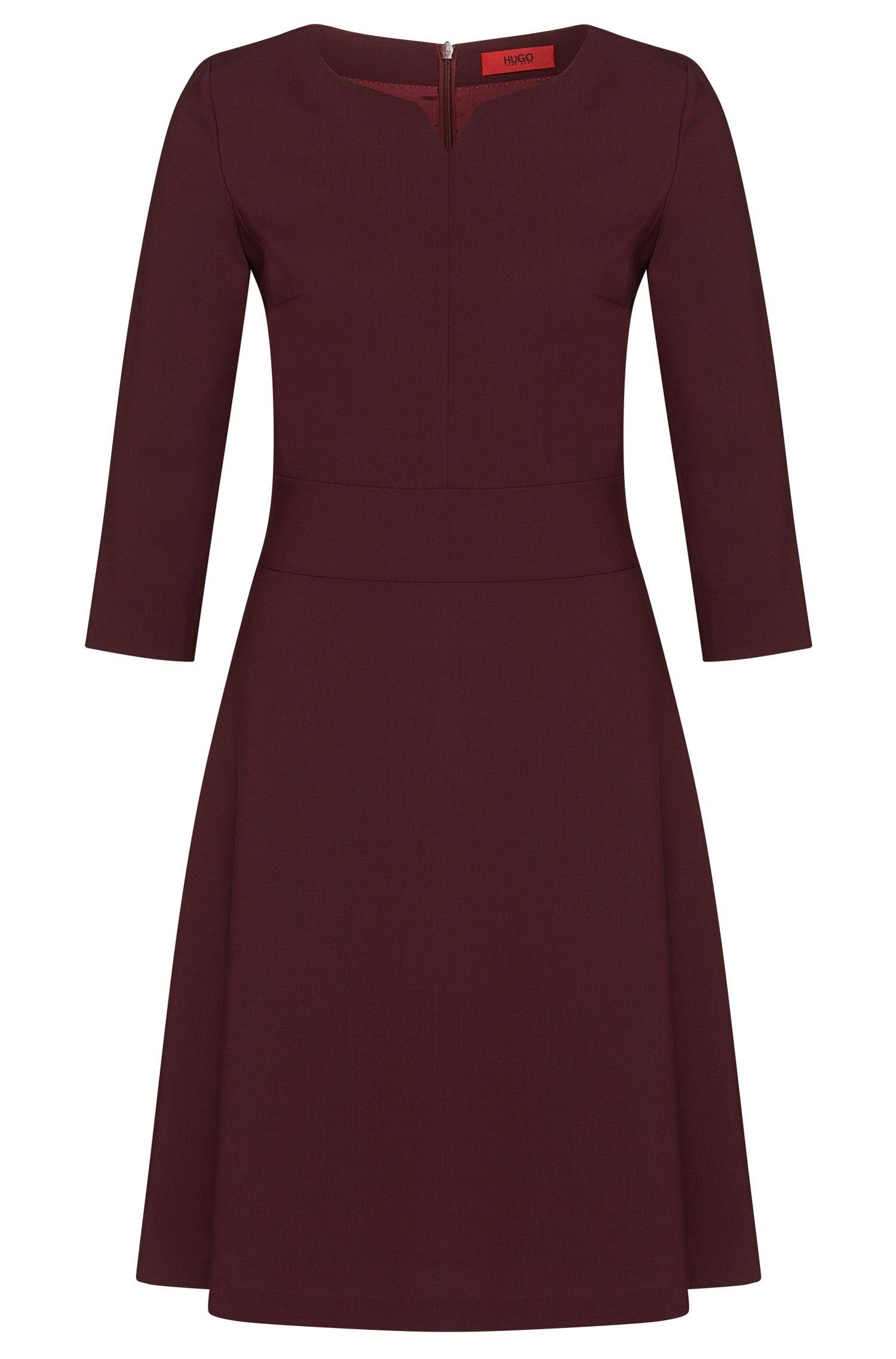 Vestido liso en lana virgen elástica: 'Kebina'