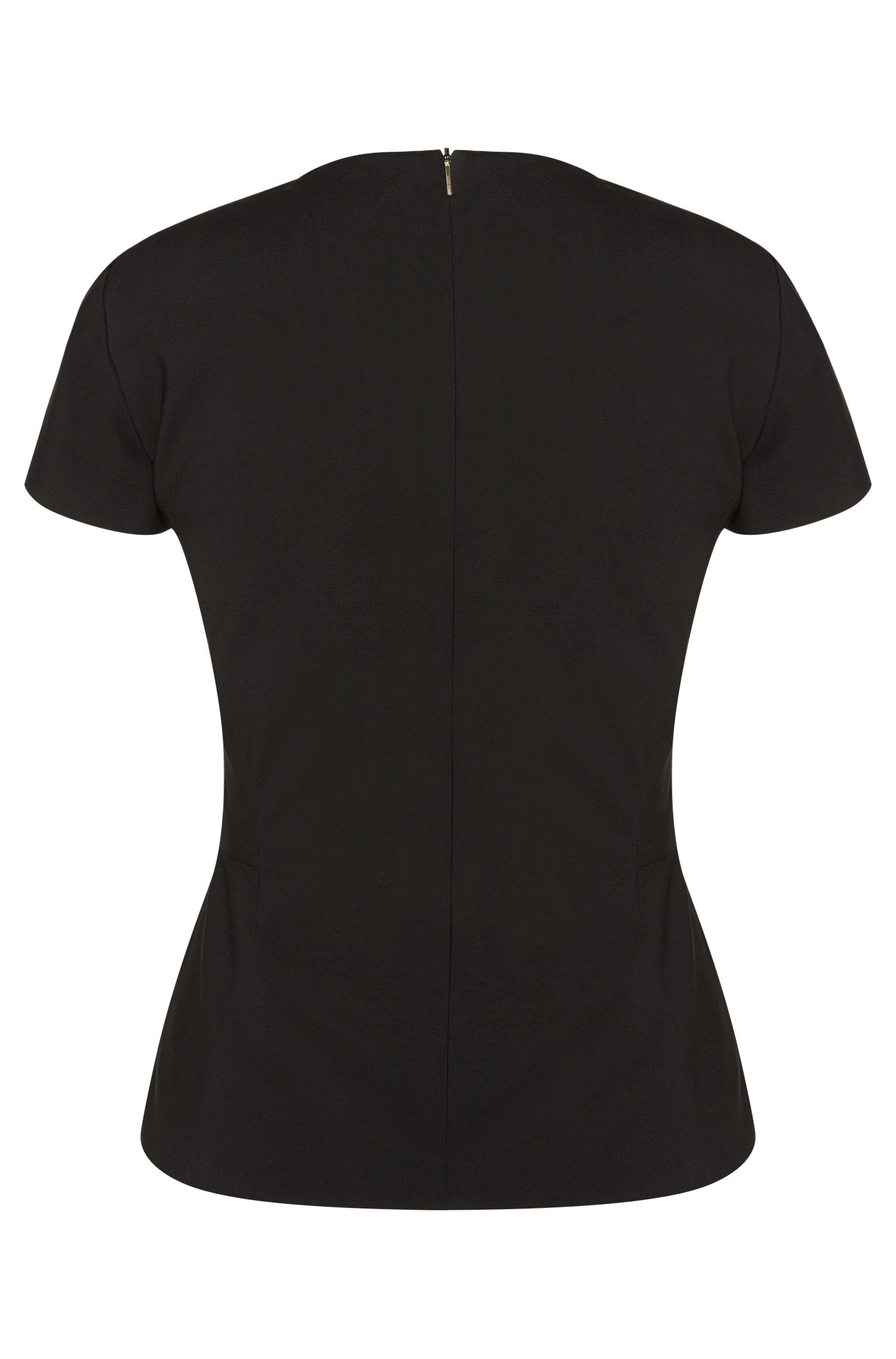 Top aus Stretch-Schurwolle mit leicht transparentem Einsatz: 'Iabina'