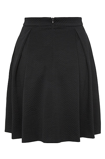 Textured pleated skirt in a stretchy viscose blend: 'Rizalia', Black