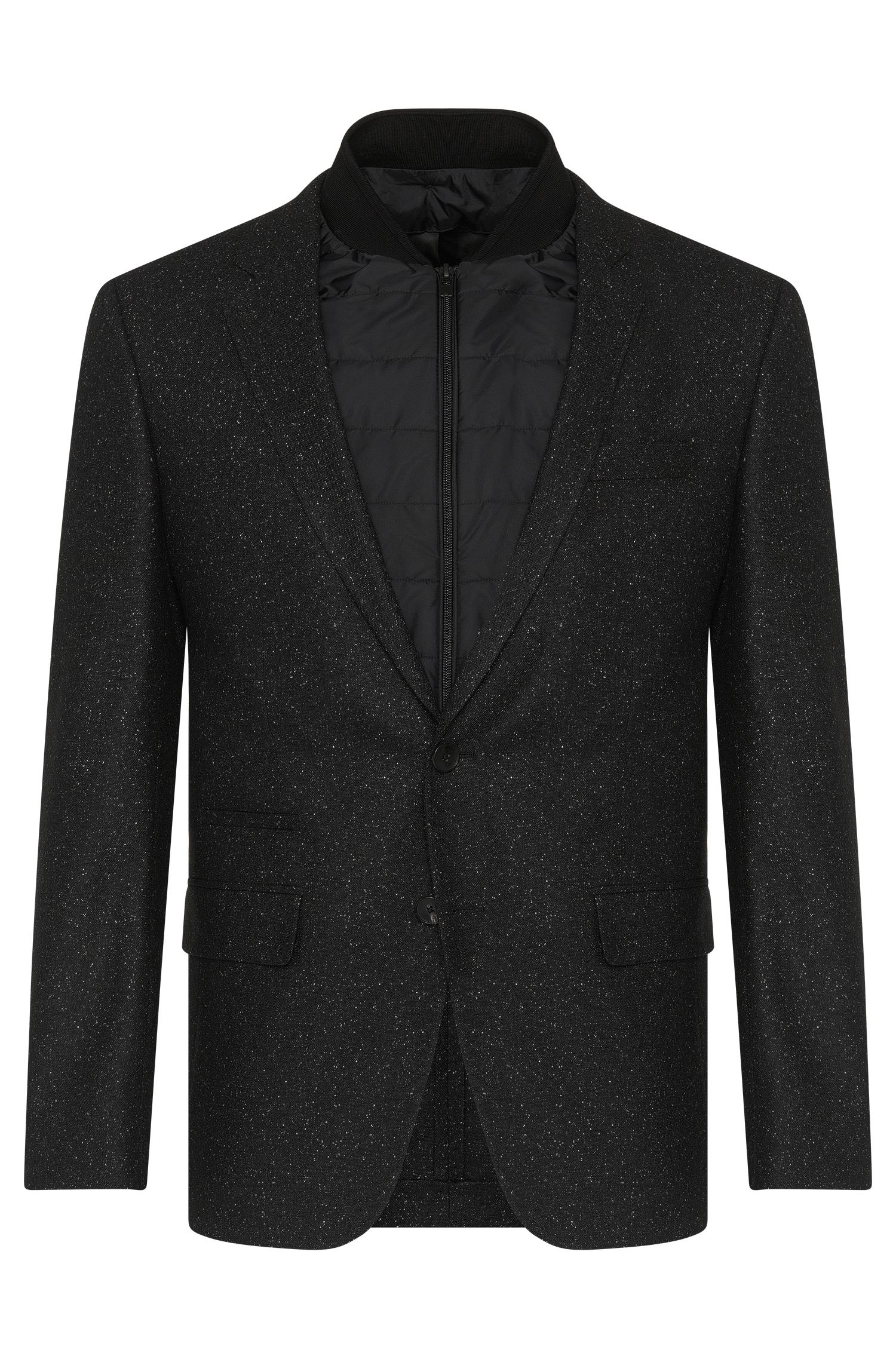 Slim-fit jacket in new-wool blend with removable inner jacket: 'Hadwart'