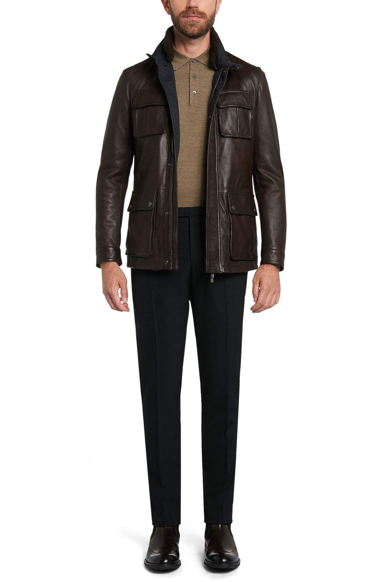 Regular-Fit Pullover aus Schurwolle mit Klappkragen: 'Banet-B'