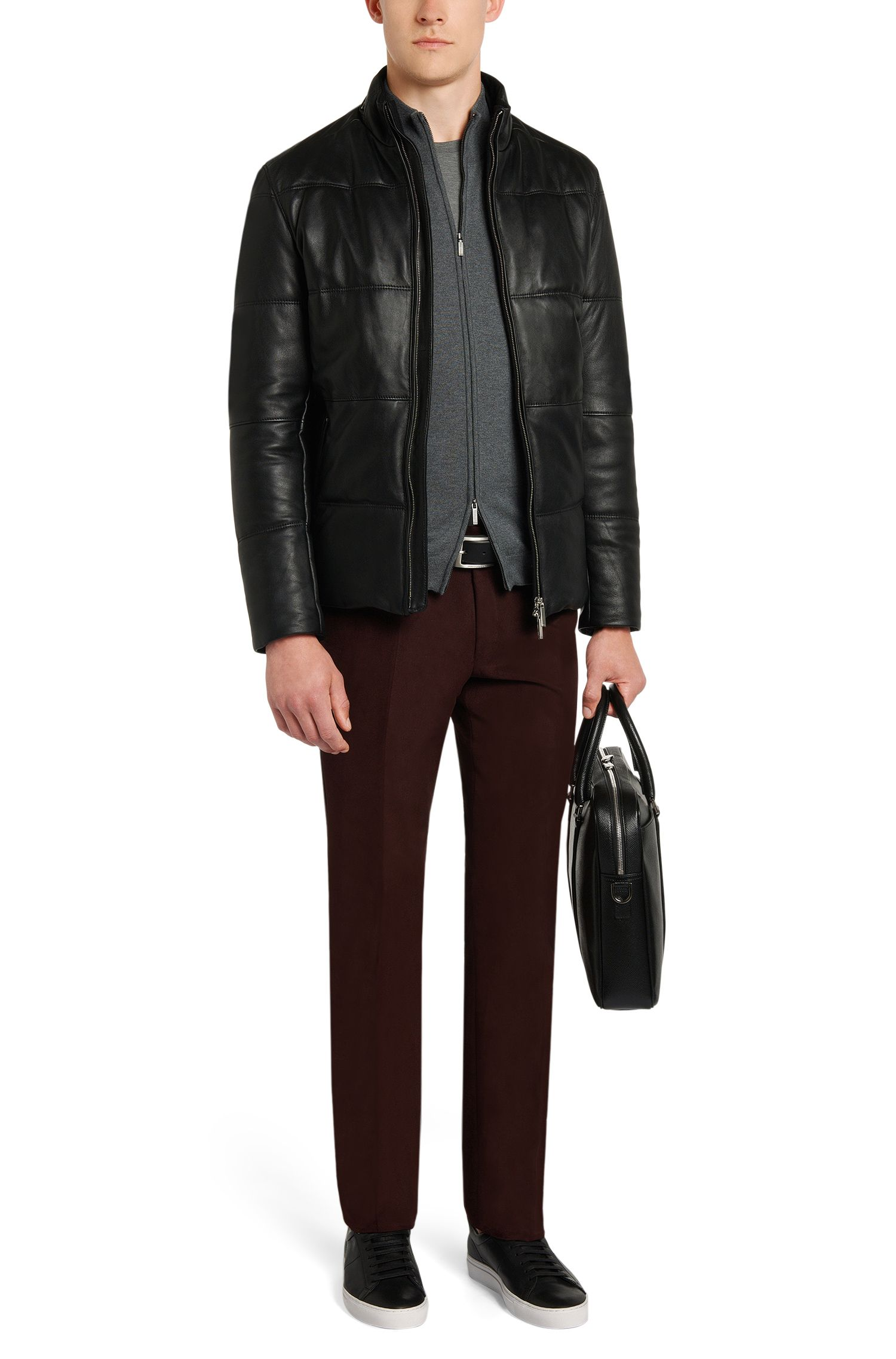 Veste en maille Slim Fit en laine vierge dotée d'un zip à double sens: «Baldemario-B»