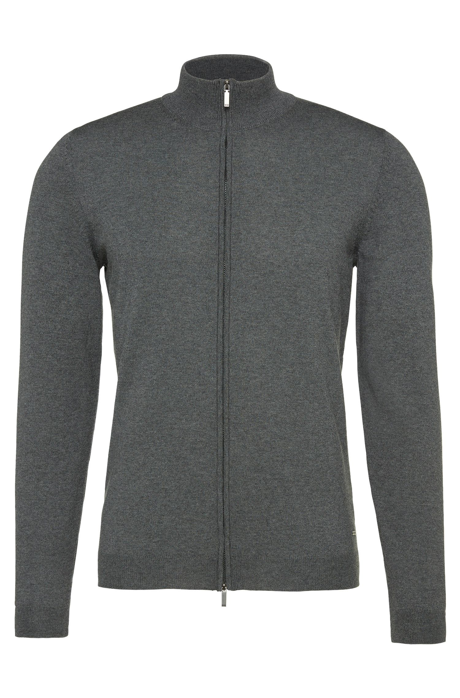 Slim-fit cardigan in new wool with 2-way zip: 'Baldemario-B'