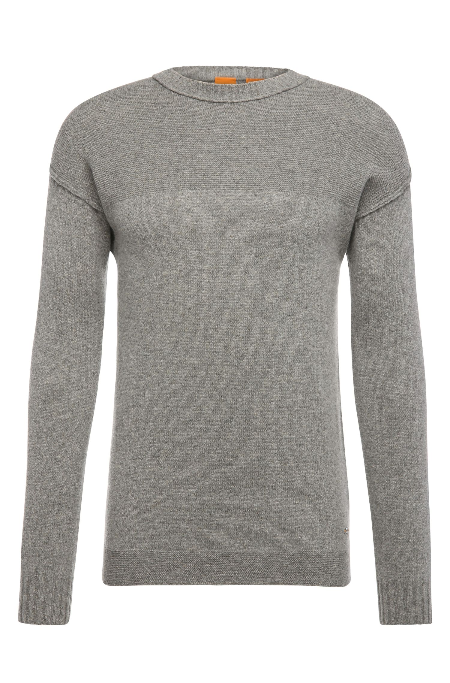 Slim-fit sweater in a woollen blend with linen: 'Asquar'