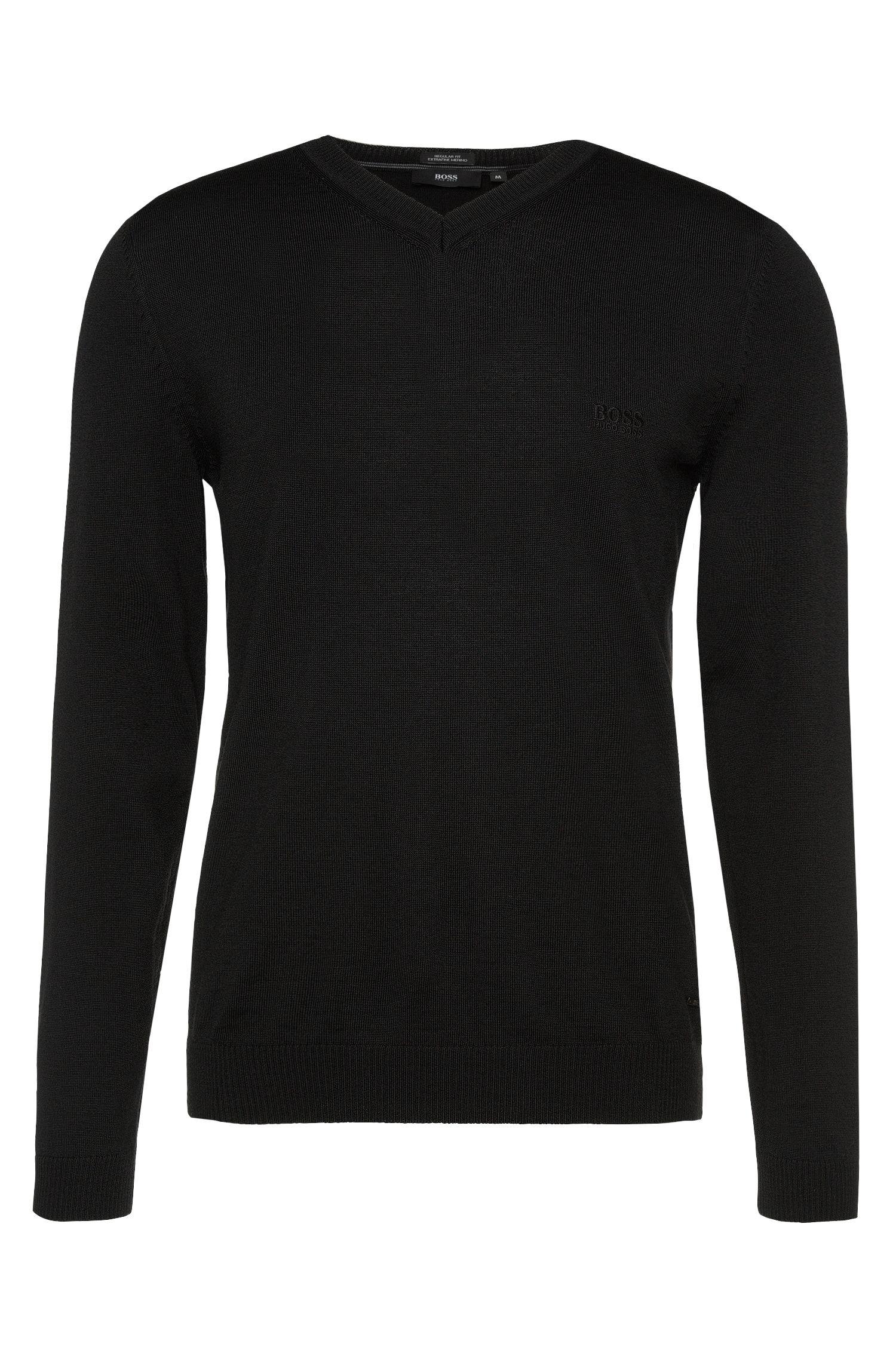 Feinstrick-Pullover aus Schurwolle mit V-Ausschnitt: 'Batisse-B'