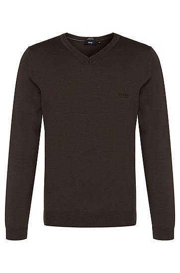 Fine-knit sweater with V-neck in new wool: 'Batisse-B', Dark Brown