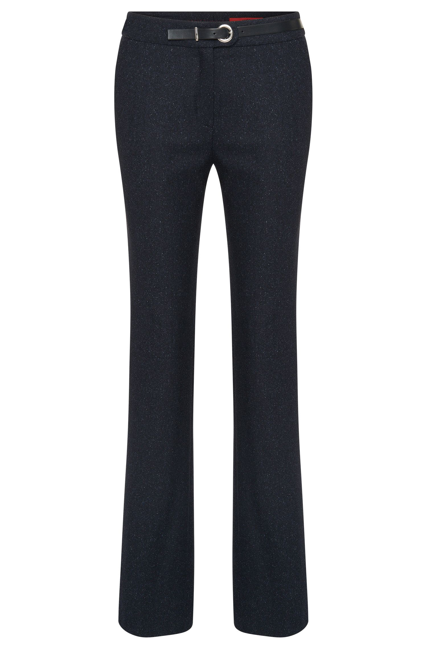 Regular-fit trousers in new-wool blend with belt detail: 'Holines'