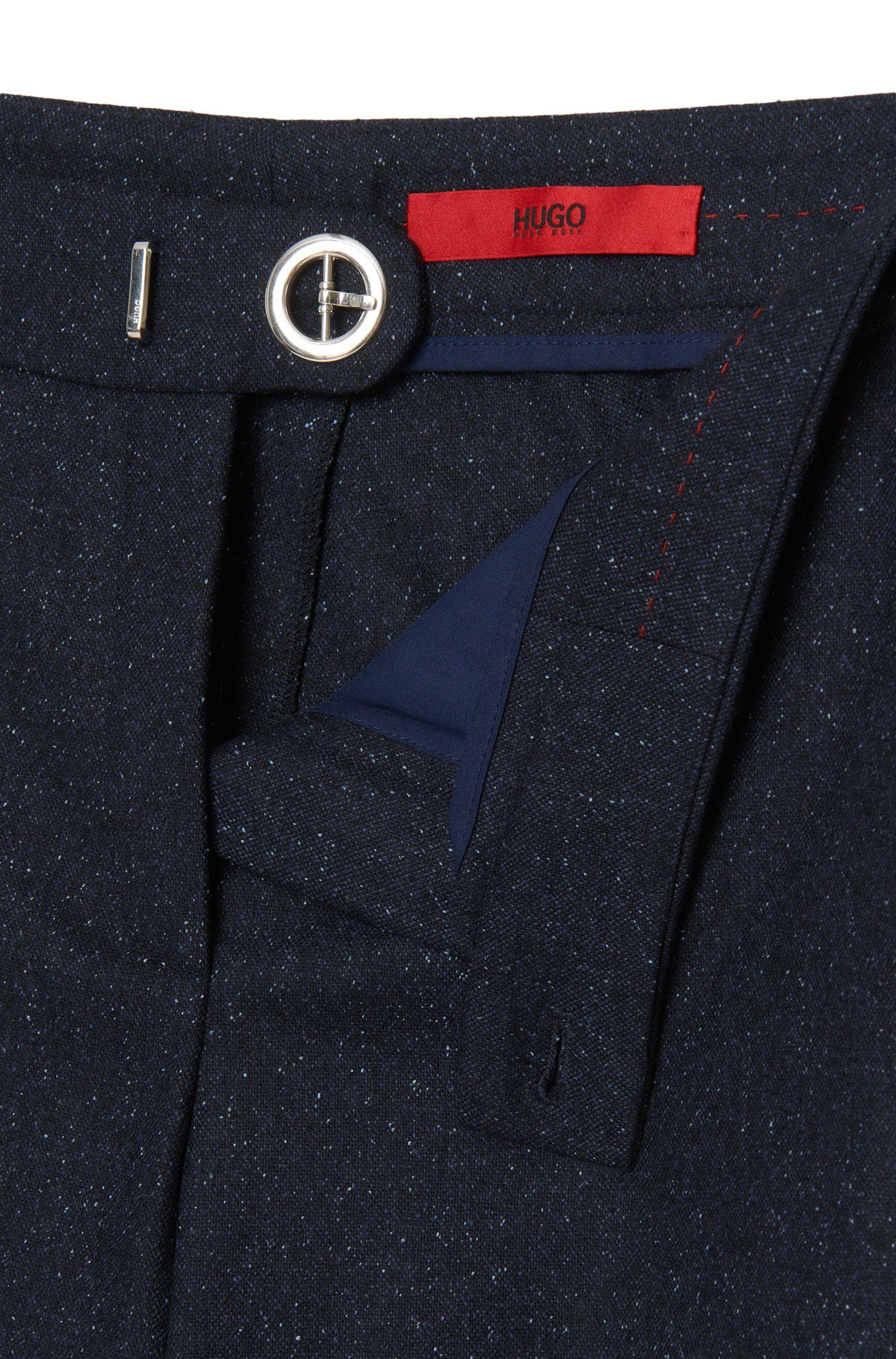 Regular-fit broek van een scheerwolmix met ceintuurdetail: 'Holines'