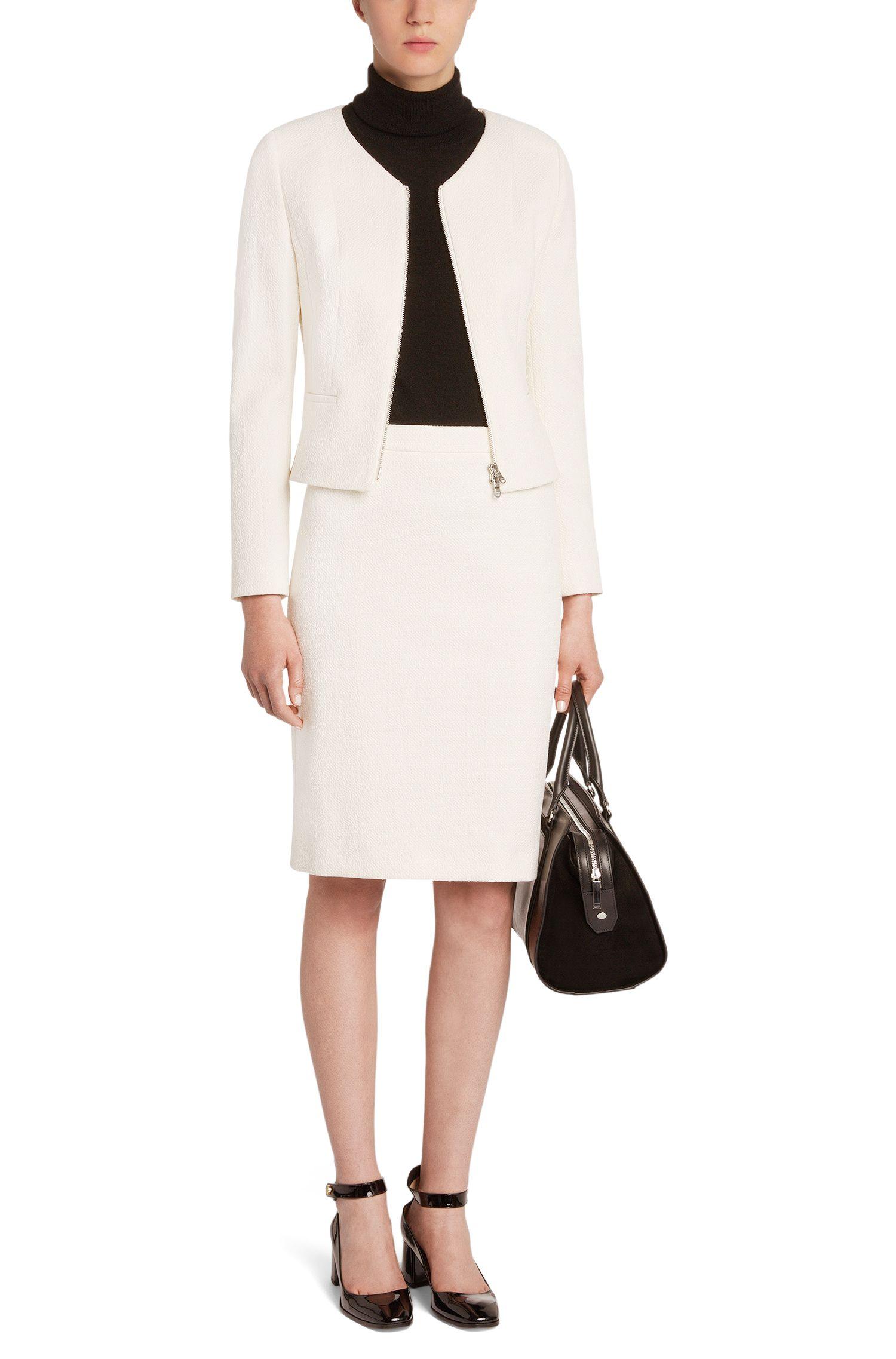 Gestructureerde blazer met dubbelzijdige ritssluiting: 'Adelini'