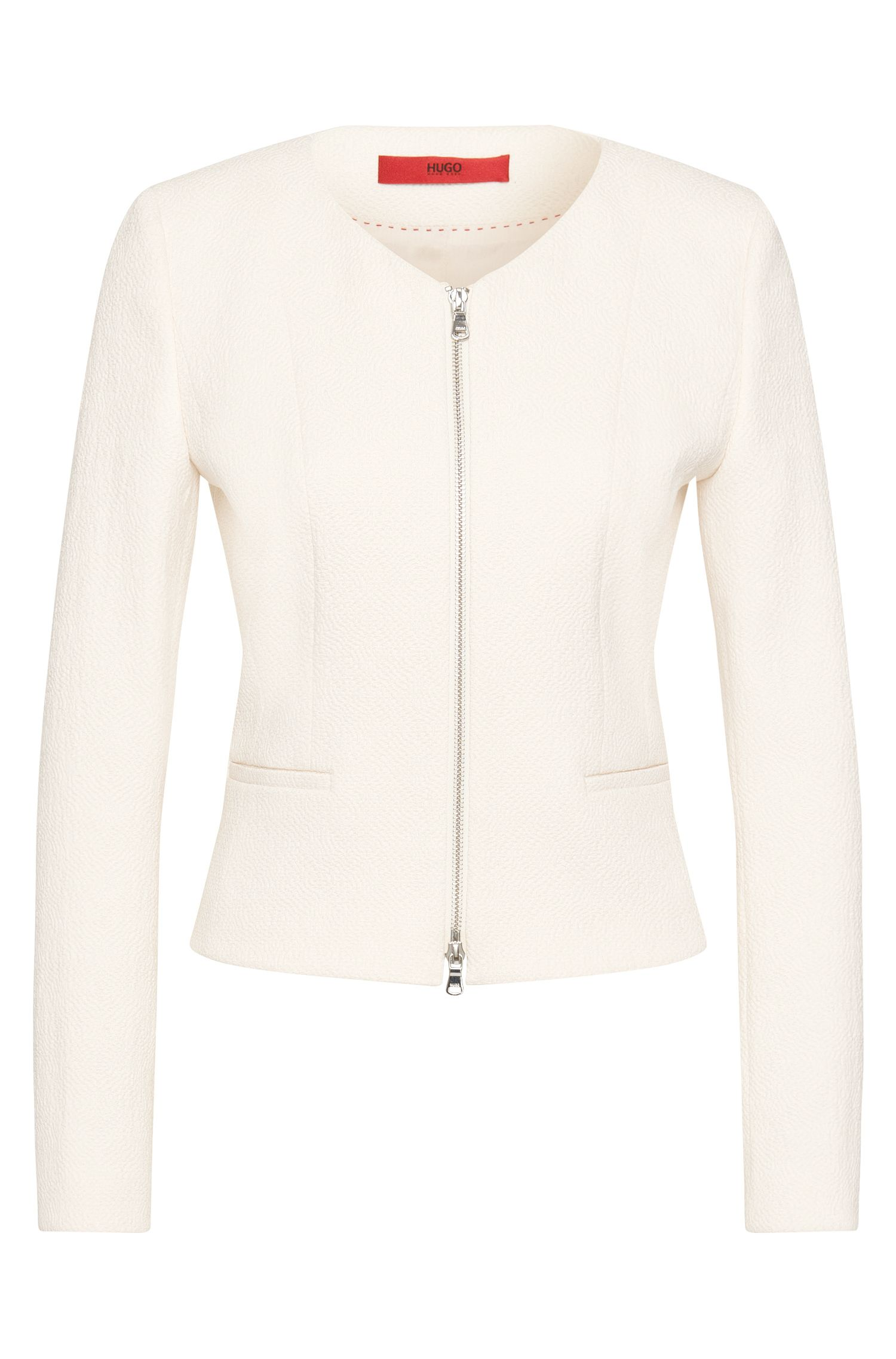 Textured blazer with 2-way zip: 'Adelini'