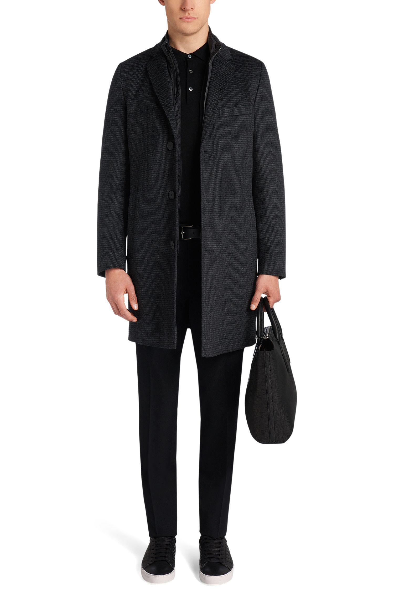 Manteau Tailored en laine vierge mélangée à du cachemire, pourvu d'une doublure amovible: «T-Lennard2»