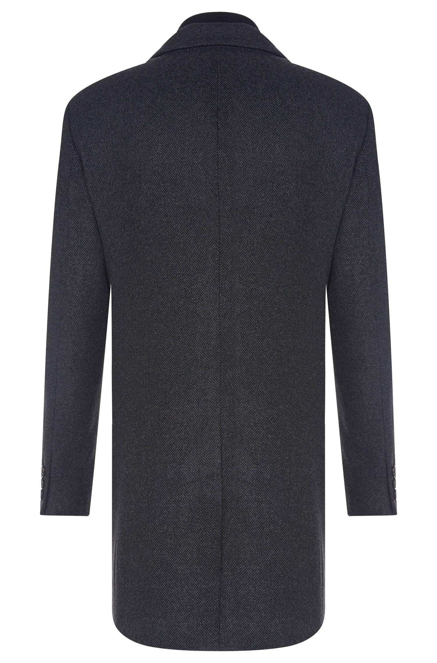 Manteau à motif en laine vierge mélangée à empiècement amovible: «Nadim»