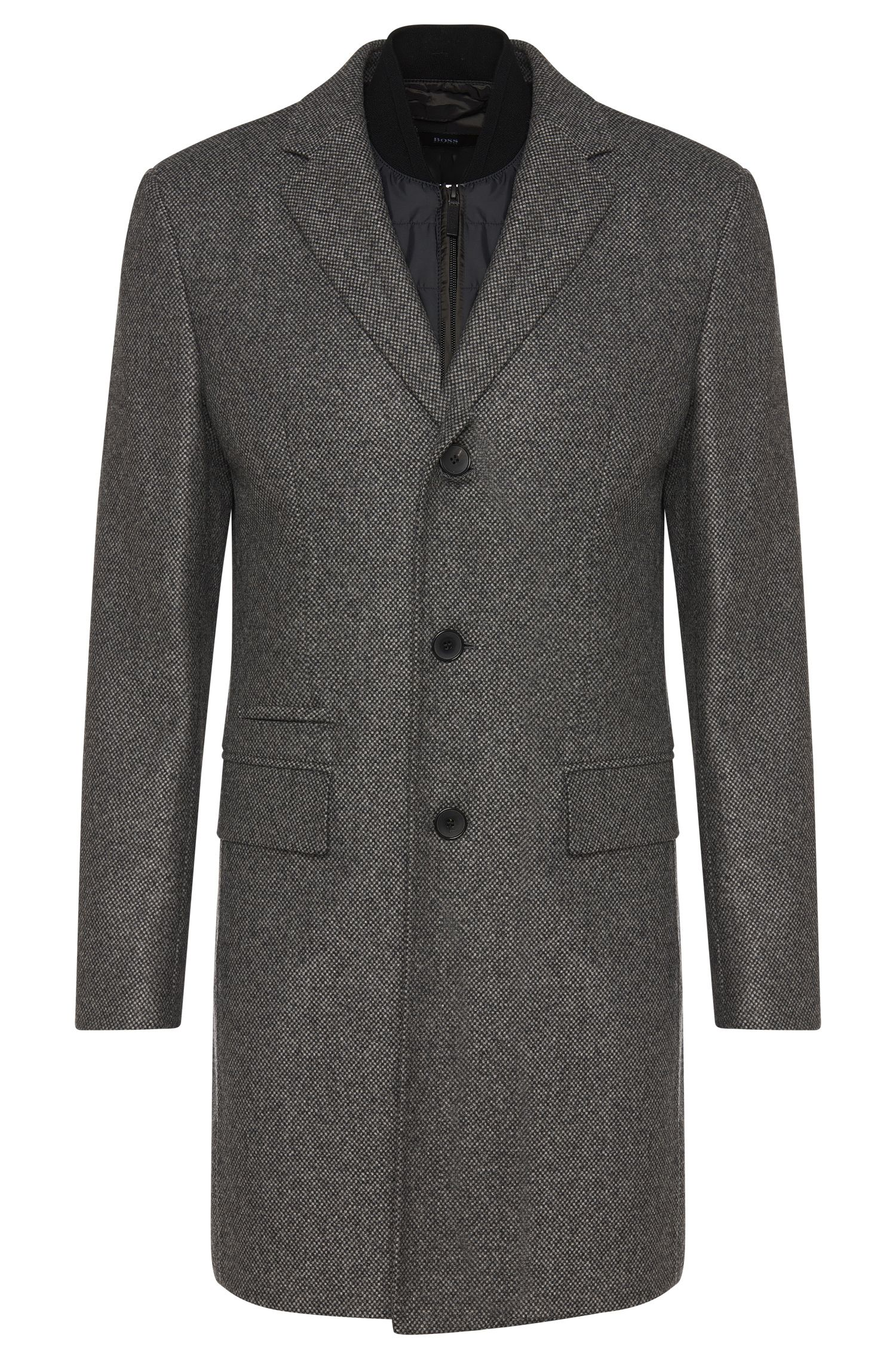 Patterned coat in new-wool blend with detachable panel: 'Nadim'
