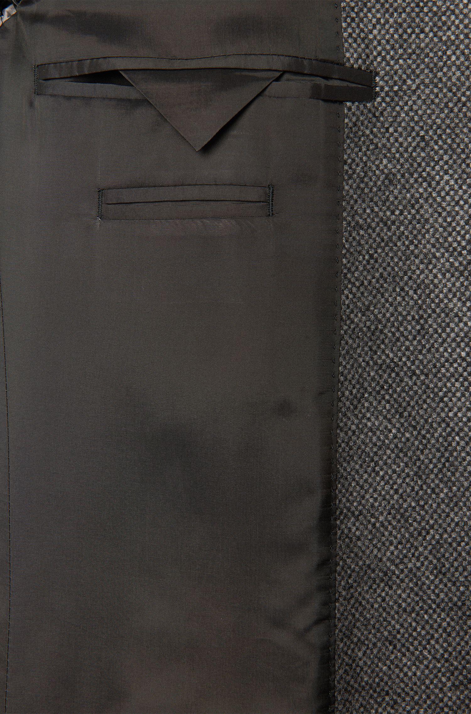 Gemusterter Mantel aus Schurwoll-Mix mit herausnehmbarer Blende: 'Nadim'
