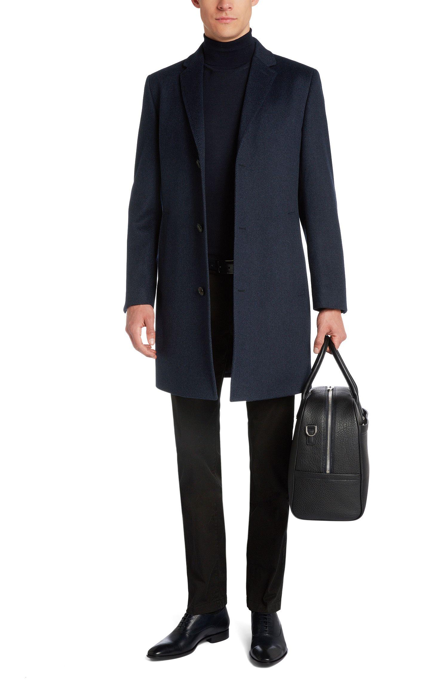 Mantel van een scheerwolmix met kasjmier: 'Stratus1'
